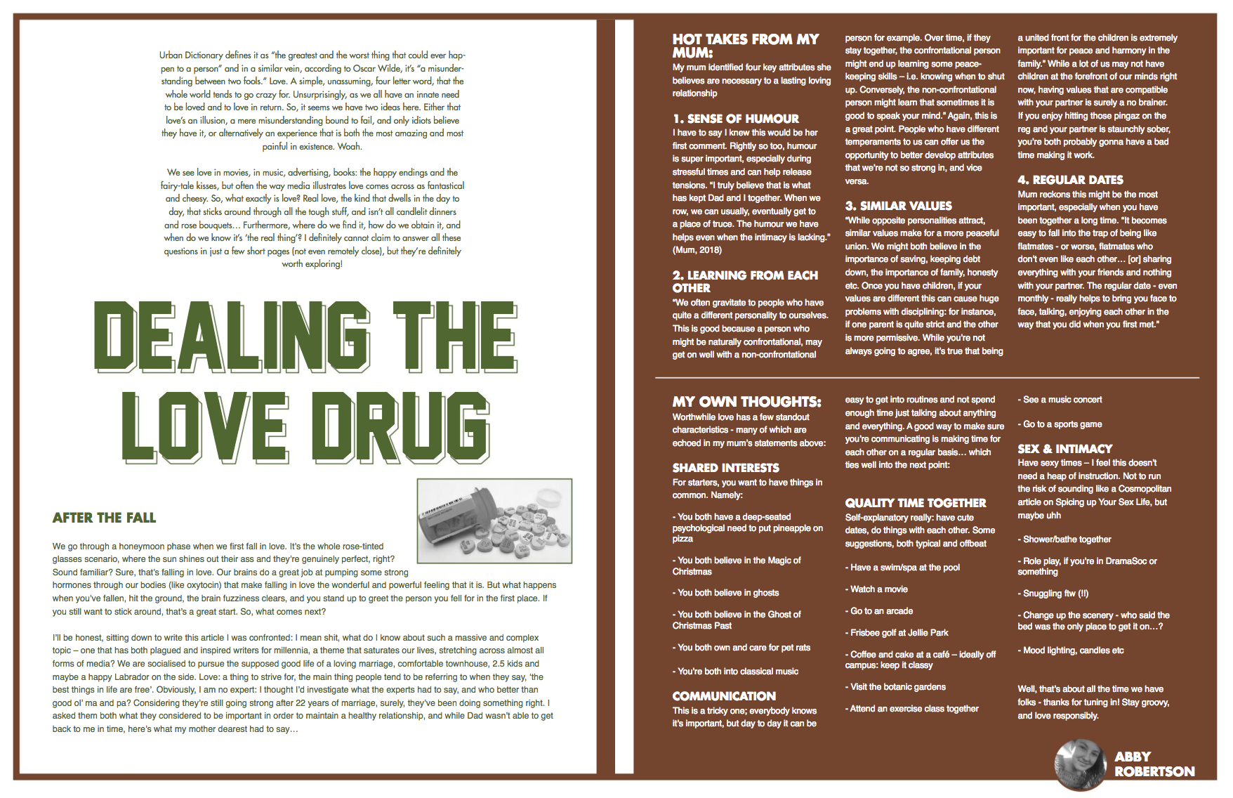 Dealing the Love Drug Magazine Article