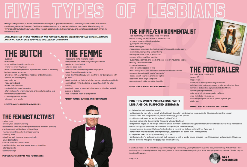 The Five Types of Lesbians Magazine Article