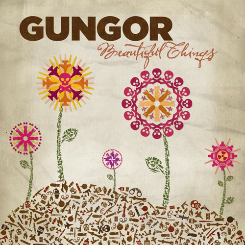 Album cover with beige background and colourful flowers in foreground. Text above reads in all caps Gungor, with 'Beautiful Things' in fancy script underneath